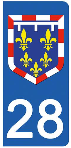 2 stickers pour plaque immatriculation Auto, 28 Eure et Loir