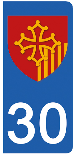 2 stickers pour plaque d\'immatriculation pour Auto, 30 Gard