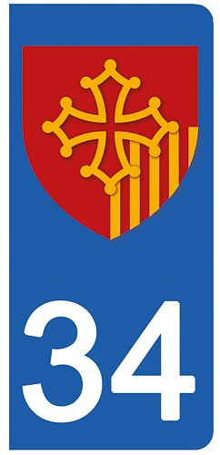 2 stickers pour plaque d\'immatriculation Auto, 34 Herault