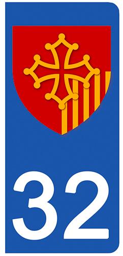 2 stickers pour plaque d\'immatriculation pour Auto, 32 Gers