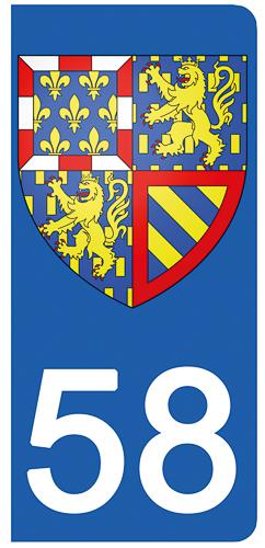 2 stickers pour plaque d\'immatriculation pour Auto, 58 Nièvre