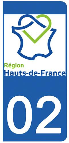 2 stickers pour plaque d\'immatriculation pour Auto, 02 Aisne