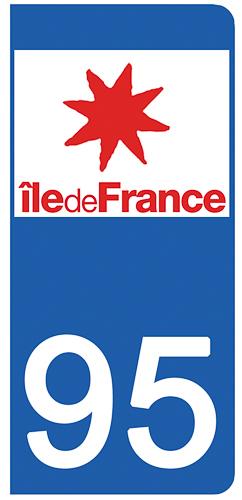2 stickers pour plaque d\'immatriculation Auto, 95 Val d\'Oise