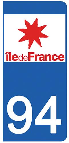2 stickers pour plaque d\'immatriculation Auto, 94 Val de Marne