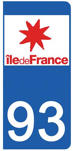 2 stickers pour plaque d\'immatriculation pour Auto, 93 Seine Saint Denis