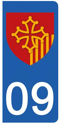2 stickers pour plaque d\'immatriculation pour Auto, 09 Ariége