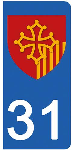 2 stickers pour plaque d\'immatriculation pour Auto, 31 Haute Garonne