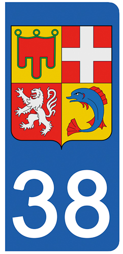 2 stickers pour plaque d\'immatriculation Auto, 38 blason de l\'Isère
