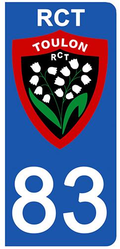 2 stickers pour plaque d\'immatriculation pour Auto, 83 Var, RCT TOULON edition limitée 100 ex