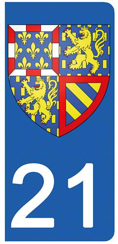 2 stickers pour plaque d\'immatriculation pour Auto, 21 Côte d\'Or