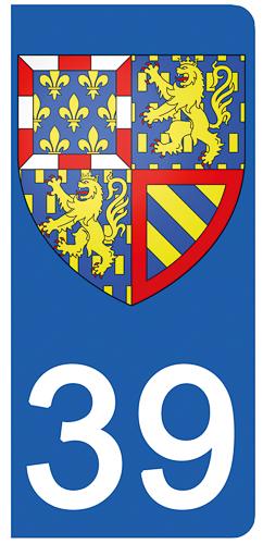 2 stickers pour plaque d\'immatriculation pour Auto, 39 Jura
