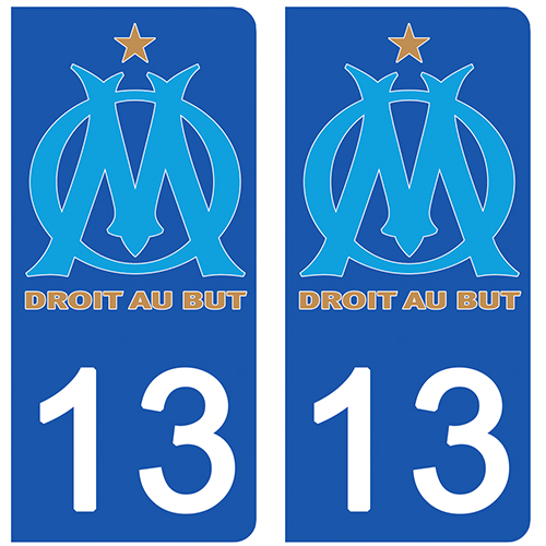 2 stickers pour plaque d\'immatriculation pour Auto, 13, Olympique Marseillais, OM edition Limitée 100 ex.