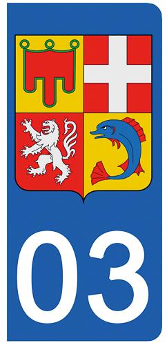 2 stickers pour plaque d\'immatriculation Auto, 03 Allier