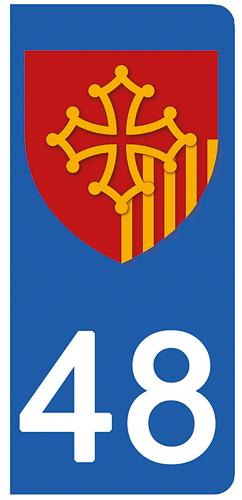 2 stickers pour plaque d\'immatriculation Auto, 48 Lozére
