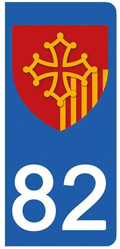 2 stickers pour plaque d\'immatriculation Auto, 82 Tarn et Garonne