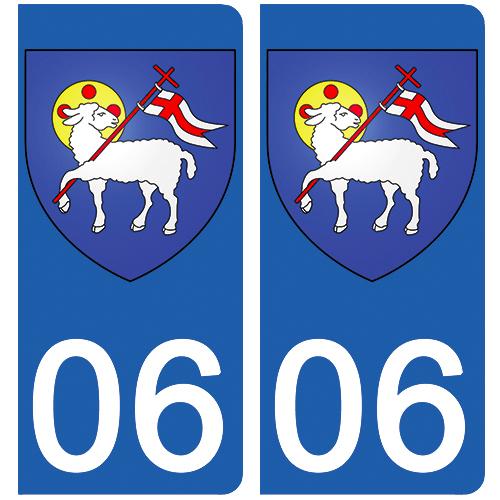 2 stickers pour plaque d\'immatriculation Auto, 06 Grasse