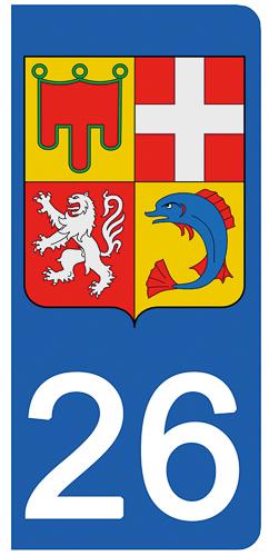 2 stickers pour plaque d\'immatriculation Auto, 26 Drôme