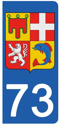 2 stickers pour plaque d\'immatriculation Auto, 73 Savoie - Auvergne Rhône-Alpes