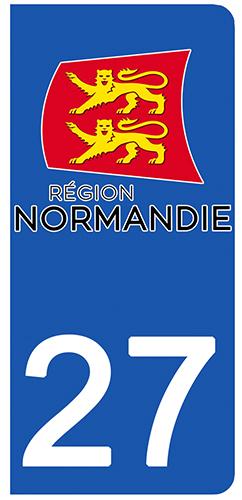 2 stickers pour plaque d\'immatriculation pour Auto, 27 Eure