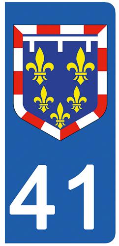 2 stickers pour plaque d\'immatriculation pour Auto, 41 Loire et Cher
