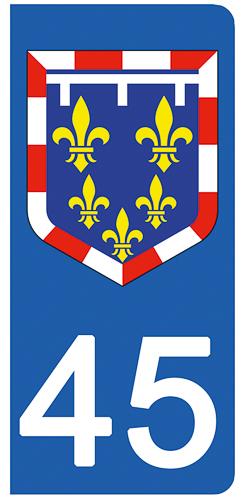 2 stickers pour plaque d\'immatriculation Auto, 45 Loiret