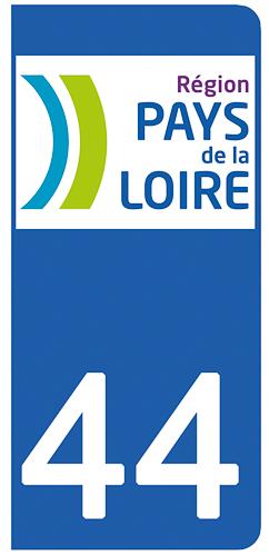 2 stickers pour plaque d\'immatriculation pour Auto, 44 Loire Atlantique
