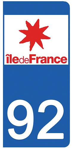 2 stickers pour plaque d\'immatriculation Auto, 92 Hauts de Seine