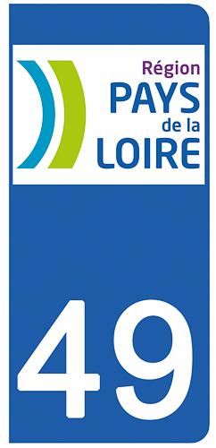 2 stickers pour plaque d\'immatriculation pour Auto, 49 Maine et Loire
