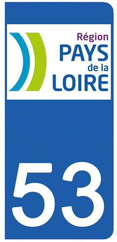 2 stickers pour plaque d\'immatriculation pour Auto, 53 Mayenne