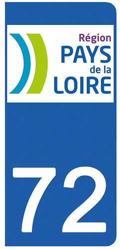 2 stickers pour plaque d\'immatriculation pour Auto, 72 Sarthe