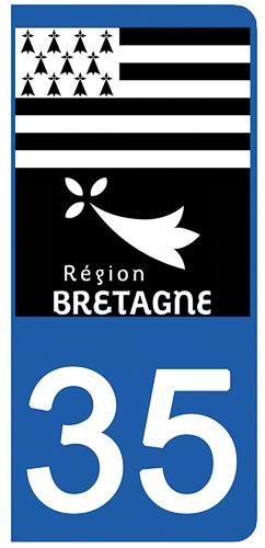 2 stickers pour plaque d\'immatriculation pour Auto, 35 Ille et Vilaine