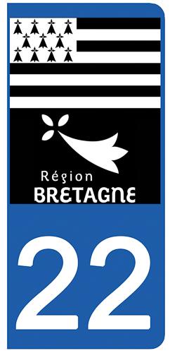 2 stickers pour plaque d\'immatriculation Auto, 22 Côtes-d\'Armor