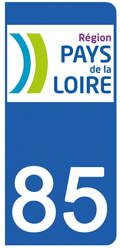 2 stickers pour plaque d\'immatriculation pour Auto, 85 Vendée