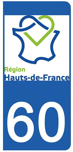 2 stickers pour plaque d\'immatriculation pour Auto, 60 Oise