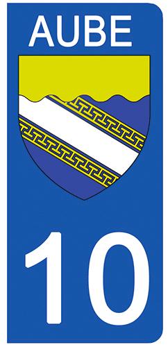 2 stickers pour plaque d\'immatriculation pour Auto, 10 blason de l\'Aube