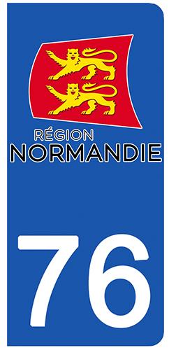 2 stickers pour plaque d\'immatriculation pour Auto, 76 Seine Maritime