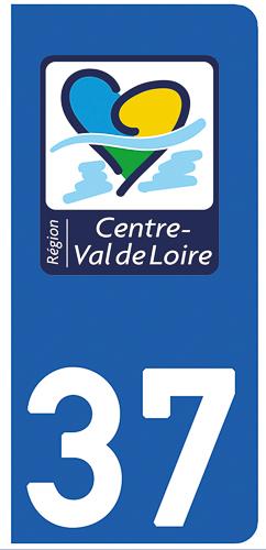 2 stickers pour plaque d\'immatriculation Auto, 37 Indre et Loire