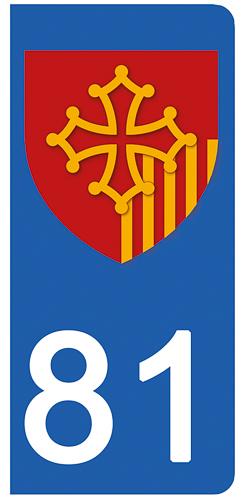 2 stickers pour plaque d\'immatriculation Auto, 81 Tarn