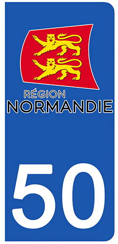 2 stickers pour plaque d\'immatriculation pour Auto, 50 Manche