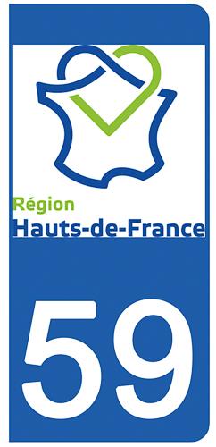 2 stickers pour plaque d\'immatriculation pour Auto, 59 Nord