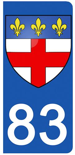 2 stickers pour plaque d\'immatriculation pour Auto, 83 Var, Frejus