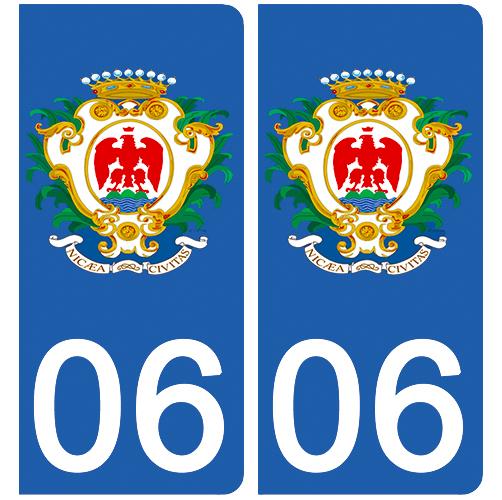 2 stickers pour plaque d\'immatriculation Auto, 06 Blason de NICE