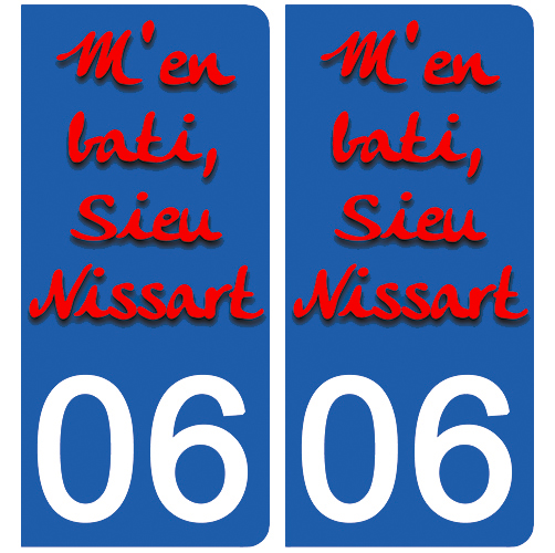 2 stickers pour plaque d\'immatriculation Auto, 06 NICE M\'en bati sieu Nissart