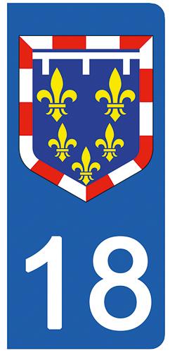 2 stickers pour plaque d\'immatriculation Auto, 18 Cher