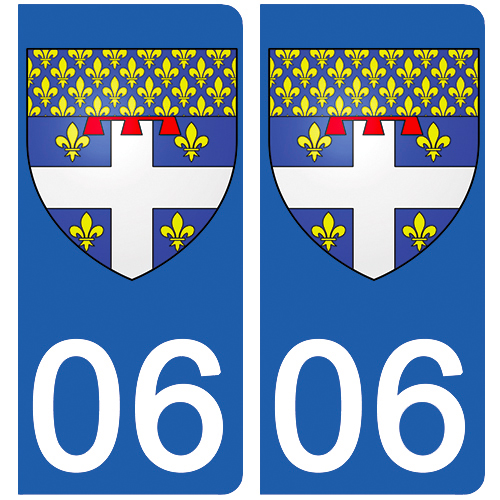 2 stickers pour plaque d\'immatriculation Auto, 06 Antibes
