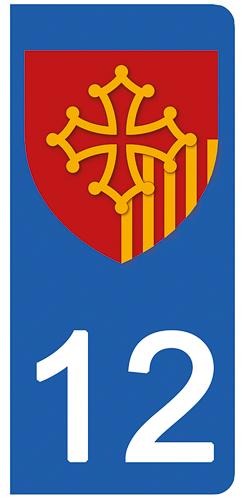 2 stickers pour plaque d\'immatriculation pour Auto, 12 Aveyron