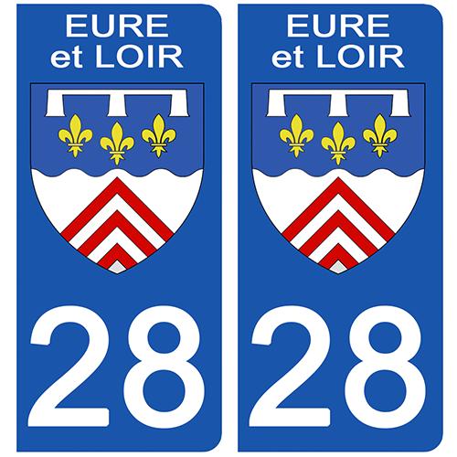 2 stickers pour plaque d\'immatriculation pour Auto, 28 blason de l\'Eure et Loir