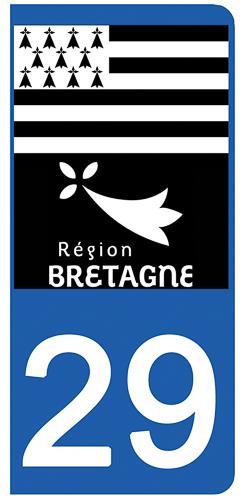 2 stickers pour plaque d\'immatriculation pour Auto, 29 Finistère
