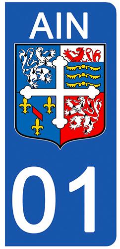 2 stickers pour plaque d\'immatriculation Auto, 01 blason de l\'Ain