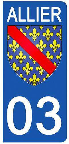 2 stickers pour plaque d\'immatriculation Auto, 03 blason de l\'Allier